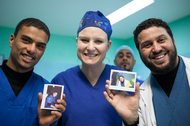 Nurse Christine with local Libyans in the ICU